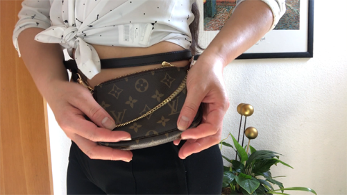 Louis Vuitton mini pochette review, How to Wear Louis Vuitton Mini Pochette 3 Different Ways, louis vuitton wristlet strap, louis vuitton pochette crossbody strap, louis vuitton mini pochette in damier azur,mini pochette availability,